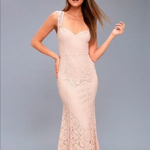 Rosetta blush pink lace maxi dress